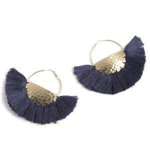 NWT! Anya Navy Fringe Boho Hoop Earrings